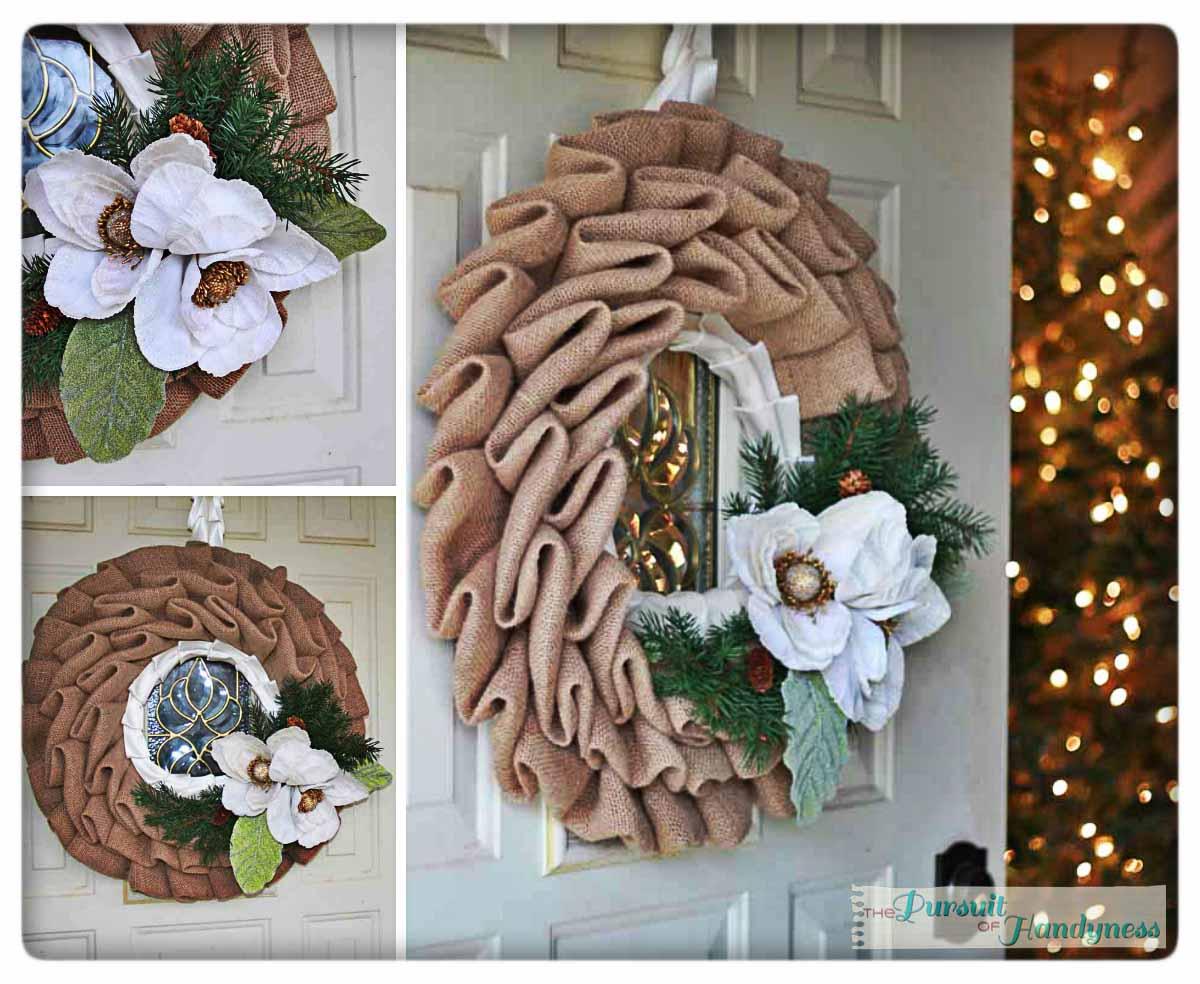 fancy burlap wreath on the cheap. Black Bedroom Furniture Sets. Home Design Ideas
