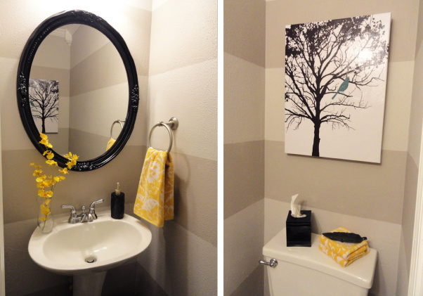 Pondering the powder room for Bathroom decor yellow and gray