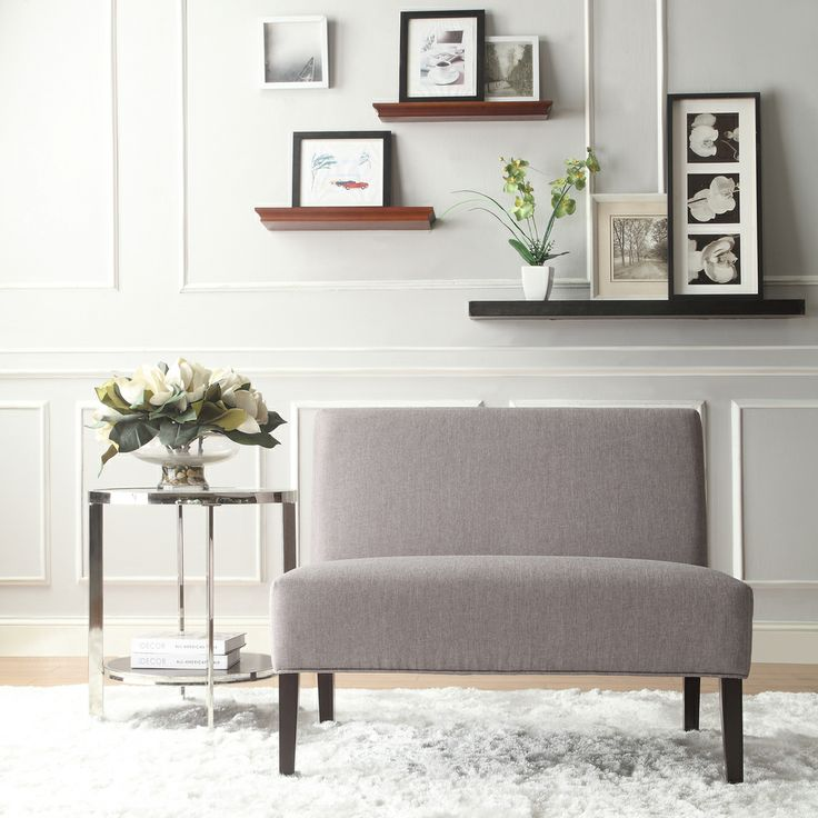 Inspire Q Easton Gray Linen 2-seater Accent Loveseat