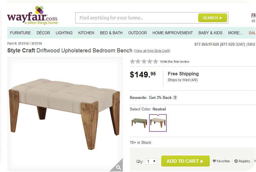 Wayfair Driftwood Upholstered Bedroom Bench-1