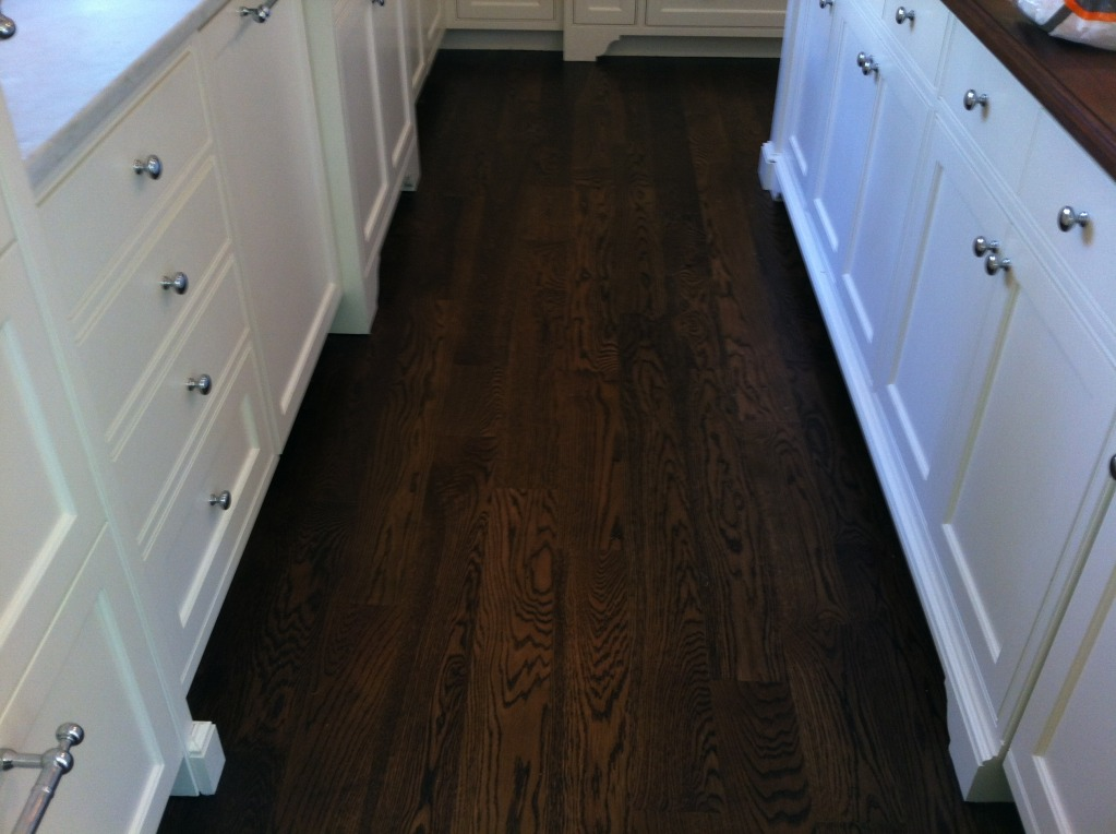 Dark stained red oak floors